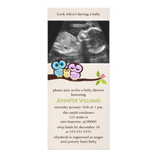 "Family Baby Shower Invitations: Owl Family Sonogram Photo Baby Shower Invitations 4"" X 9"