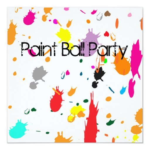 Paint Ball Party Splatter Invitation Zazzle