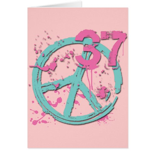 PAINT SPLATTER PEACE SIGN AND #37 GREETING CARDS | Zazzle