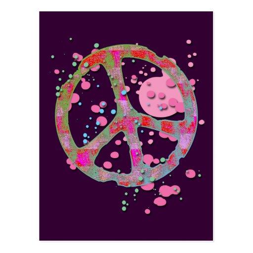 PAINT SPLATTER PEACE SIGN POSTCARD | Zazzle