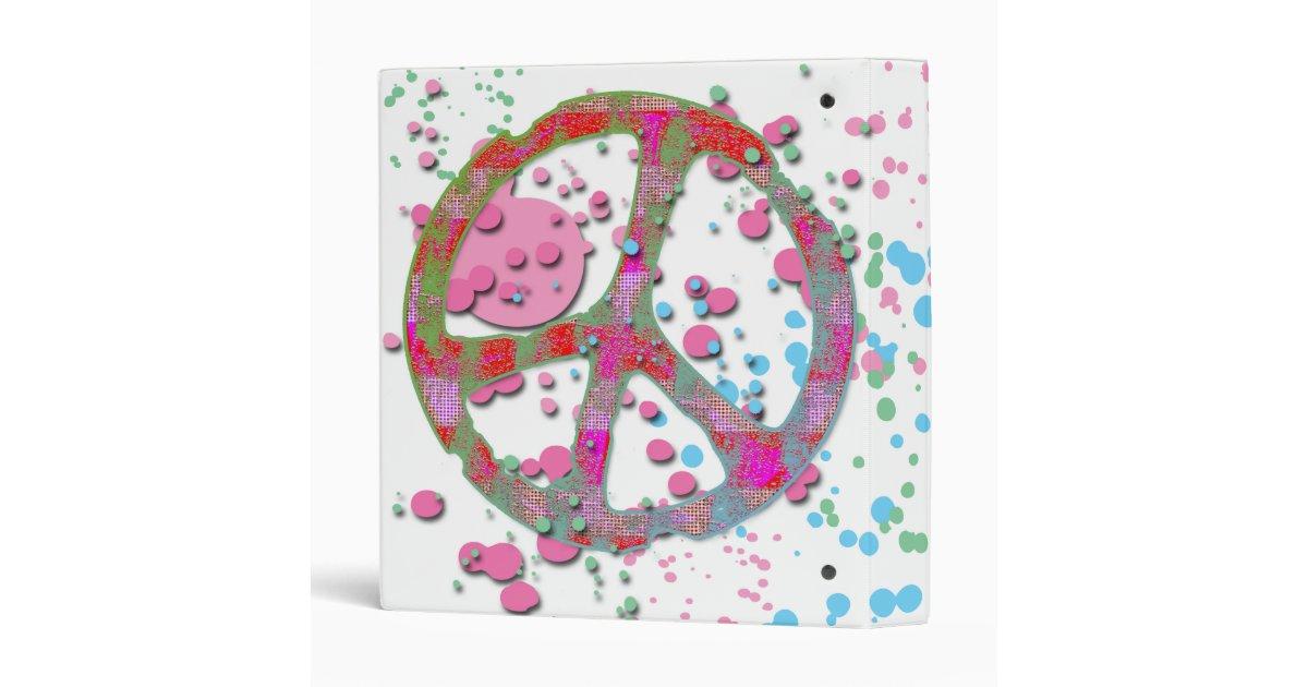 PAINT SPLATTERED PEACE SIGN BINDER | Zazzle