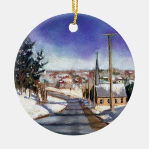 Painting Church In Snow Religious Christmas Ceramic