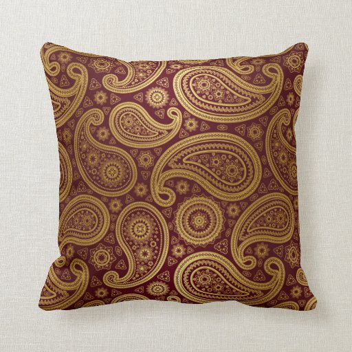 Paisley Deluxe Burgundy Gold Throw Pillow Zazzle