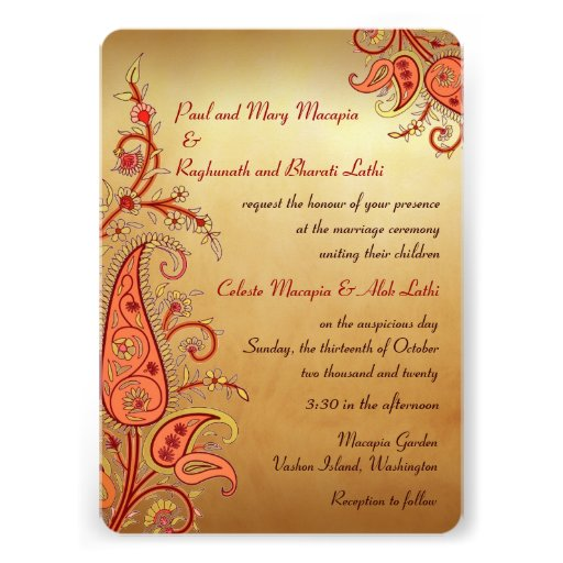 Paisley Floral Gold Red Orange Indian Wedding Custom