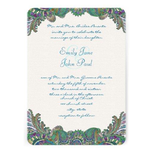 Paisley Peacock Colors Wedding Invitations
