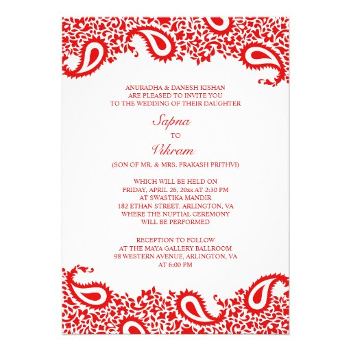 "Paisleys Elegant Indian Wedding Flat Invitation 5"" X 7"