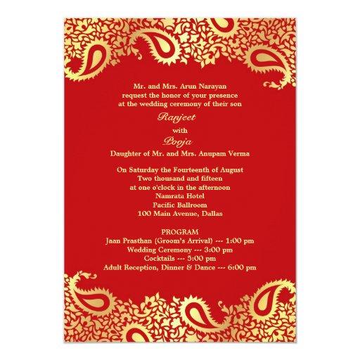 Flat Wedding Invitations: Paisleys Wedding With Programs Flat Invitation