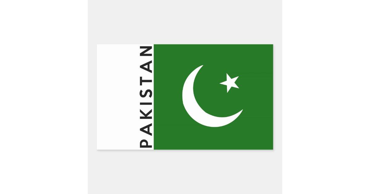 Pakistan Country Flag Text Name Rectangular Sticker Zazzle