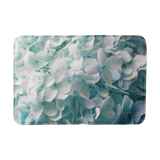 Pale Blue Hydrangea Floral Design Bathroom Mat Zazzle