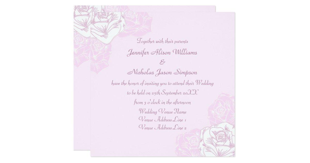 Purple Rose Wedding Invitations: Pale Purple And White Rose Wedding Invitation