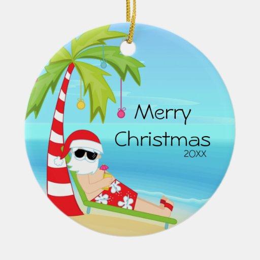 Palm Tree Relaxing Santa Tropical Christmas Ceramic ...