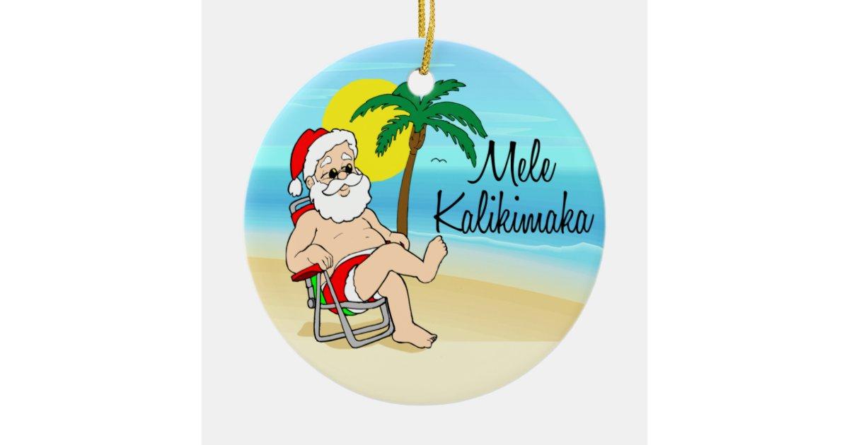 Palm Tree Santa Hawaiian Christmas Ornament | Zazzle