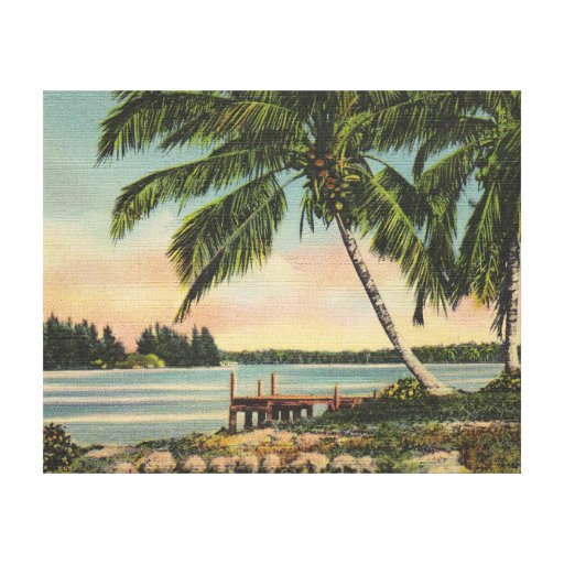 Coca Cola Gifts >> palm trees vintage canvas print | Zazzle