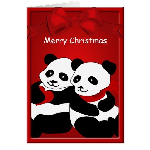 Panda Bear Love Couple Merry Christmas Greeting Greeting