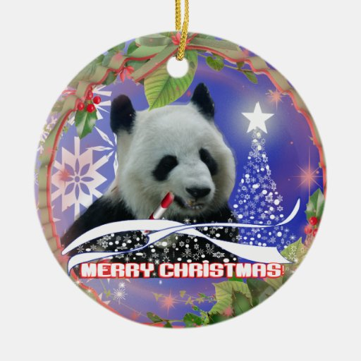 PANDA BEAR LOVERS CHRISTMAS TREE ORNAMENT | Zazzle