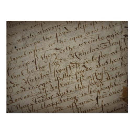 Parchment text with antique writing, old paper postcard ...