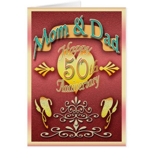 parents 50th anniversary card mom dad  zazzle