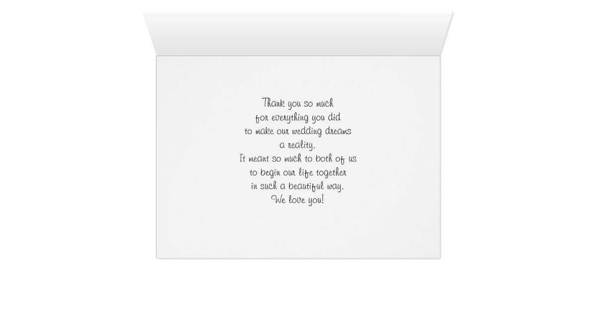 Thank Letter To Parents For Wedding: Parents Mom And Dad Wedding Thank You Card