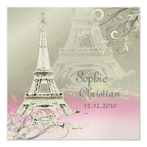 Eiffel Tower Wedding Invitations: Paris+Eiffel Tower At Sunset Wedding Invitations