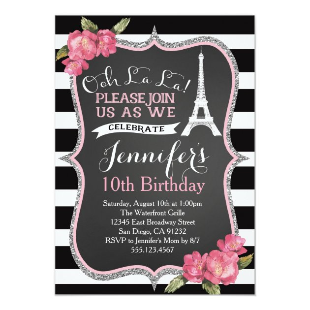 Personalized Eiffel Tower Invitations
