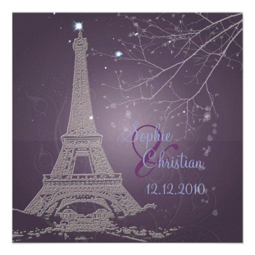 Eiffel Tower Wedding Invitations: Paris La Nuit, Eiffel Tower Wedding Invitations 5.25