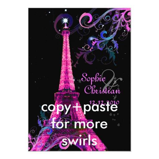 Eiffel Tower Wedding Invitations: Paris La Nuit, Eiffel Tower Wedding Invitations