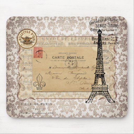 Paris Vintage Shabby Chic Eiffel Tower Mouse Pad Zazzle