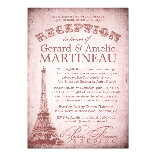 "Wedding Reception Only Invitations: Paris Wedding Reception Only Invitation 5"" X 7"" Invitation"