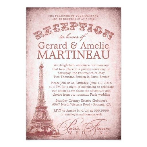 Wedding Reception Only Invitations: Paris Wedding Reception Only Invitation