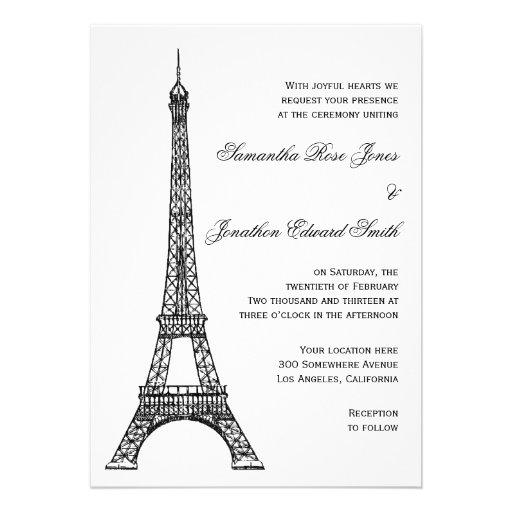 "Eiffel Tower Wedding Invitations: Parisian Eiffel Tower Wedding Invitation 5"" X 7"