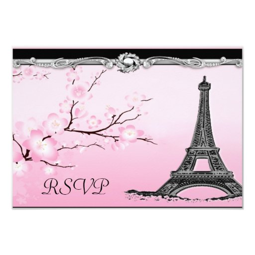 Eiffel Tower Wedding Invitations: Parisian Eiffel Tower Wedding RSVP Invitations