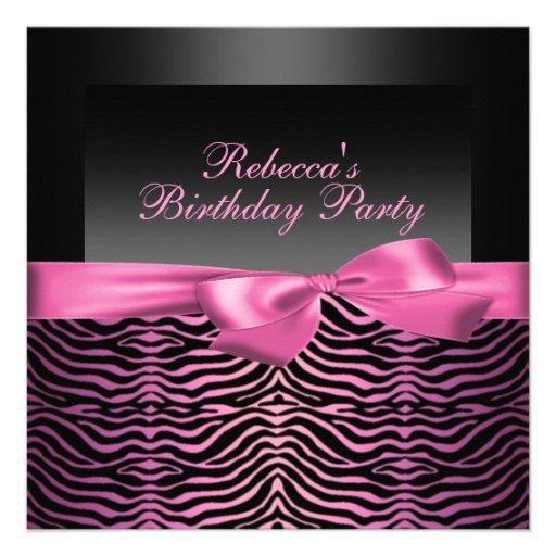 Party Black & Pink Zebra Birthday Invitation