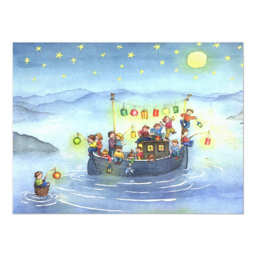 Birthday Party Yacht: Party Boat With Children Birthday Party Invitation