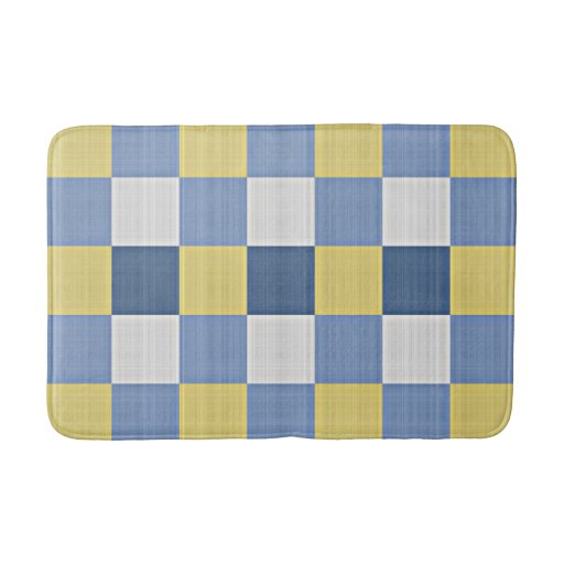 Yellow Checkered Rug: Pastel Blue Teal Yellow White Checkered Pattern Bath Mats
