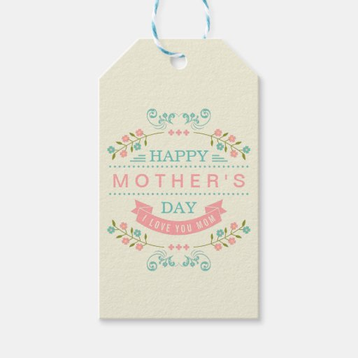 pastel floral flowers decor happy mother 39 s day pack of gift tags zazzle. Black Bedroom Furniture Sets. Home Design Ideas