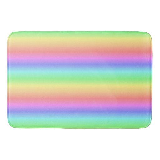 Pastel Rainbow Horizontal Bathroom Mat Zazzle