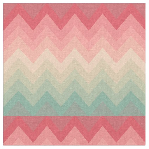 Pastel Red Pink Turquoise Ombre Chevron Pattern Fabric ...