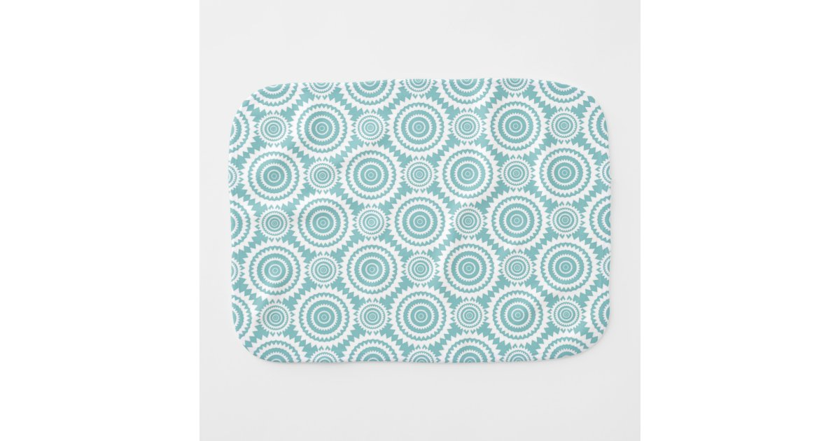 Pastel Teal Geometric Pattern Cool Circles Art Baby Burp ...