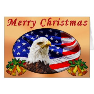 Patriotic Christmas Cards YOUR MESSAGE or Ours