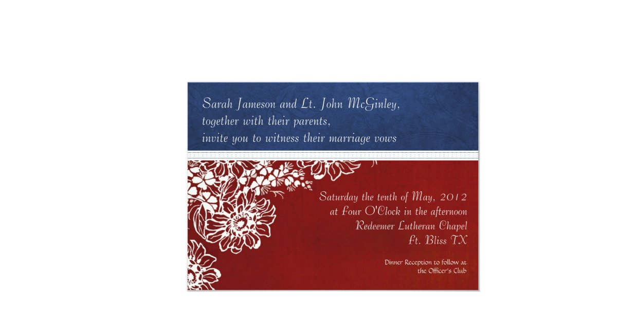 Red White And Blue Wedding Invitations: Patriotic Military Red White And Blue Wedding 5x7 Paper