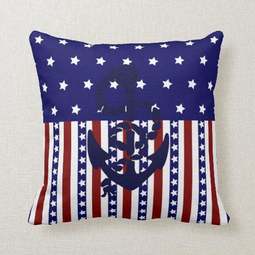 Patriotic Usa Stars Stripes Nautical Anchor Pillow Zazzle