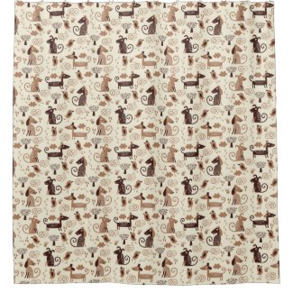 pattern with cute dogs shower curtain
