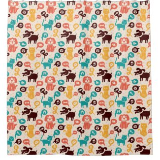Pattern With Funny Cats And Dogs Shower Curtain