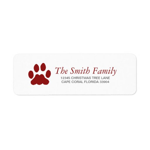 How To Print Return Address Labels Paw Holiday Label Zazzle