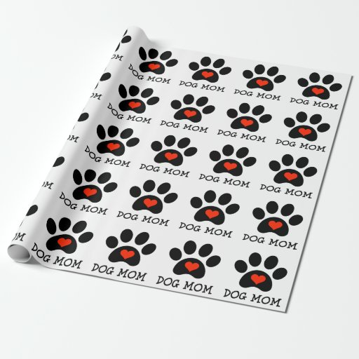 pawprint dog mom wrapping paper zazzle. Black Bedroom Furniture Sets. Home Design Ideas