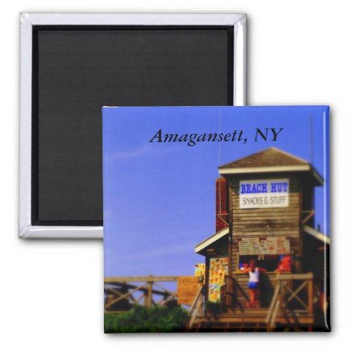 Inspiration Hut Grid Paper: PC Beach Hut, Amagansett, NY 2 Inch Square Magnet