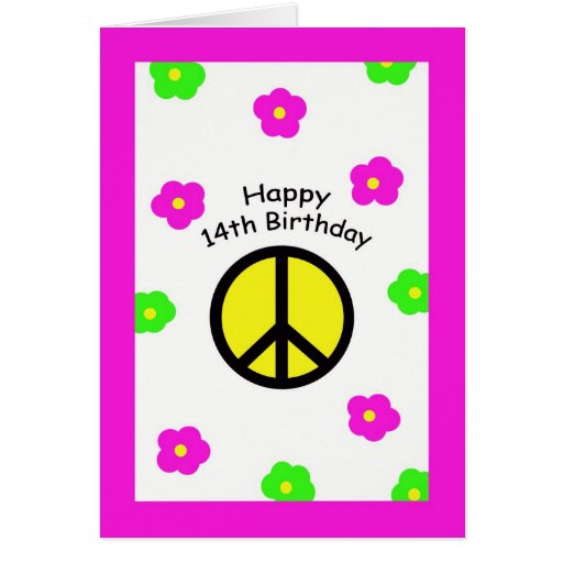 Peace And Flowers 14th Birthday Card
