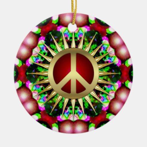 Peace Hippie Hexagon Christmas Ceramic Ornament | Zazzle
