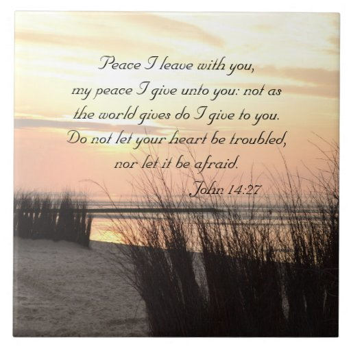 Peace I Leave With You, Bible Verse Ocean Sunset Ceramic