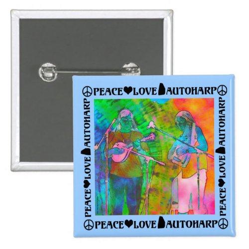 Peace Love Autoharp 2-inch Square Button